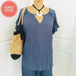 Susina Chambray Eyelet Top Size 1X 2 for $19.99